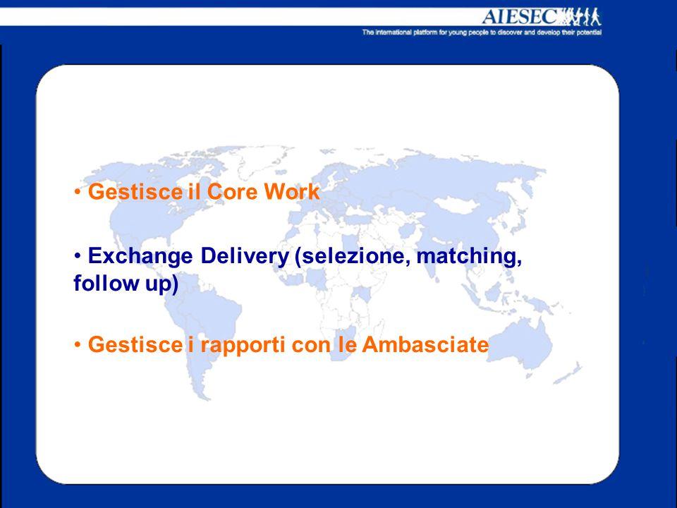 Gestisce il Core Work Exchange Delivery (selezione, matching, follow up) Gestisce i rapporti con le Ambasciate