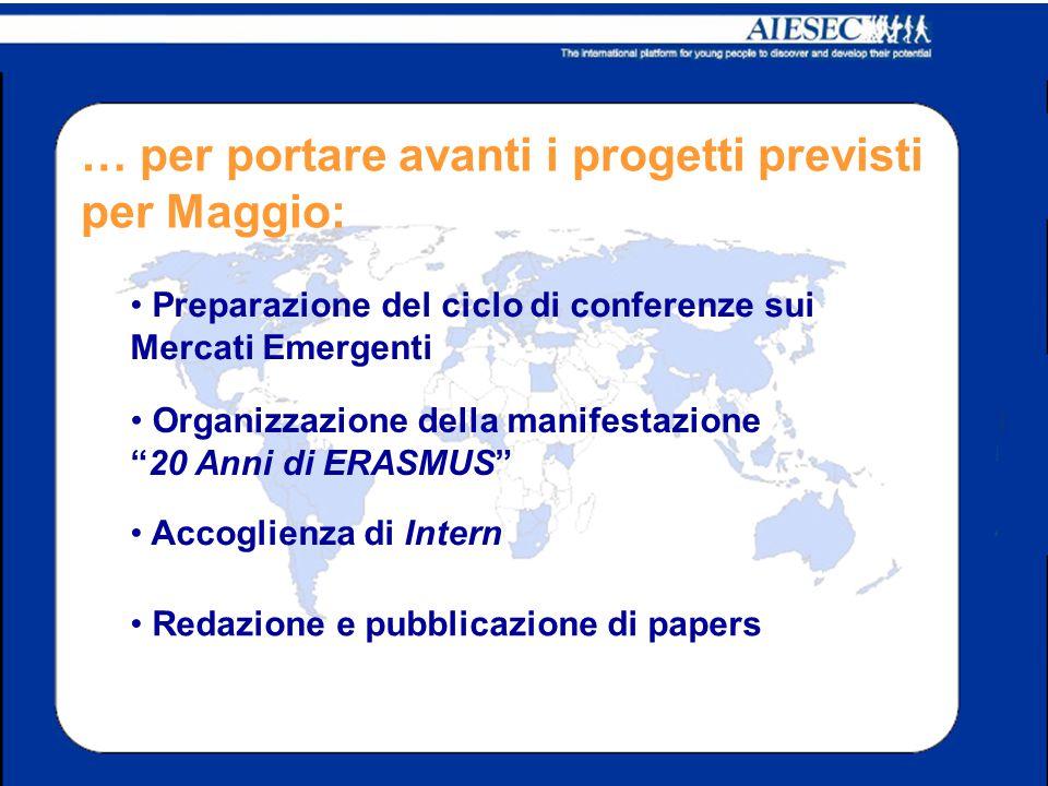 … per portare avanti i progetti previsti per Maggio: Preparazione del ciclo di conferenze sui Mercati Emergenti Organizzazione della manifestazione 20 Anni di ERASMUS Accoglienza di Intern Redazione e pubblicazione di papers