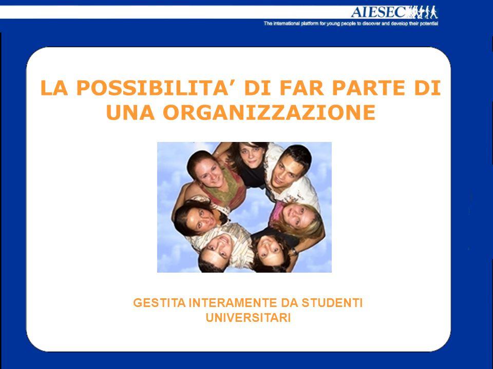 LA POSSIBILITA' DI FAR PARTE DI UNA ORGANIZZAZIONE GESTITA INTERAMENTE DA STUDENTI UNIVERSITARI