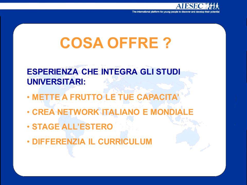 COSA OFFRE ? METTE A FRUTTO LE TUE CAPACITA' CREA NETWORK ITALIANO E MONDIALE STAGE ALL'ESTERO DIFFERENZIA IL CURRICULUM ESPERIENZA CHE INTEGRA GLI ST