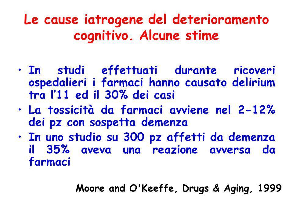 Le cause iatrogene del deterioramento cognitivo.