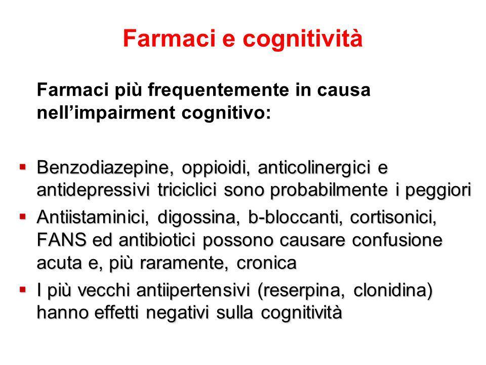 Farmaci e cognitività Farmaci più frequentemente in causa nell'impairment cognitivo:  Benzodiazepine, oppioidi, anticolinergici e antidepressivi triciclici sono probabilmente i peggiori  Antiistaminici, digossina, b-bloccanti, cortisonici, FANS ed antibiotici possono causare confusione acuta e, più raramente, cronica  I più vecchi antiipertensivi (reserpina, clonidina) hanno effetti negativi sulla cognitività
