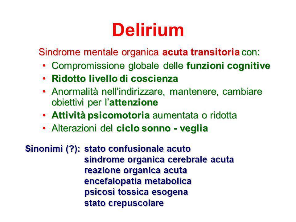 4 principali fattori di rischio di delirium nell'anziano Pre-esistente deficit cognitivo: RR=2.8 (1.2- 6.7) Deficit visivo: RR=3.5 (1.2- 10.7) Elevati valori di azotemia/creatininemia: RR= 2.0 (0.9-4.6) Qualsiasi malattia grave: RR=3.5 (1.5-8.2) Inouye S.