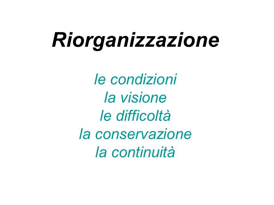 Riorganizzazione le condizioni la visione le difficoltà la conservazione la continuità