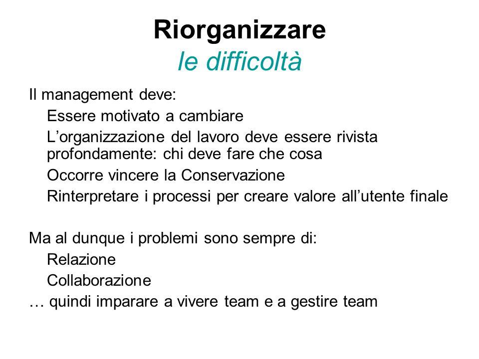 Riorganizzare le difficoltà Il management deve: Essere motivato a cambiare L'organizzazione del lavoro deve essere rivista profondamente: chi deve far