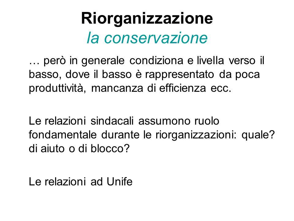 Riorganizzazione la conservazione … però in generale condiziona e livella verso il basso, dove il basso è rappresentato da poca produttività, mancanza