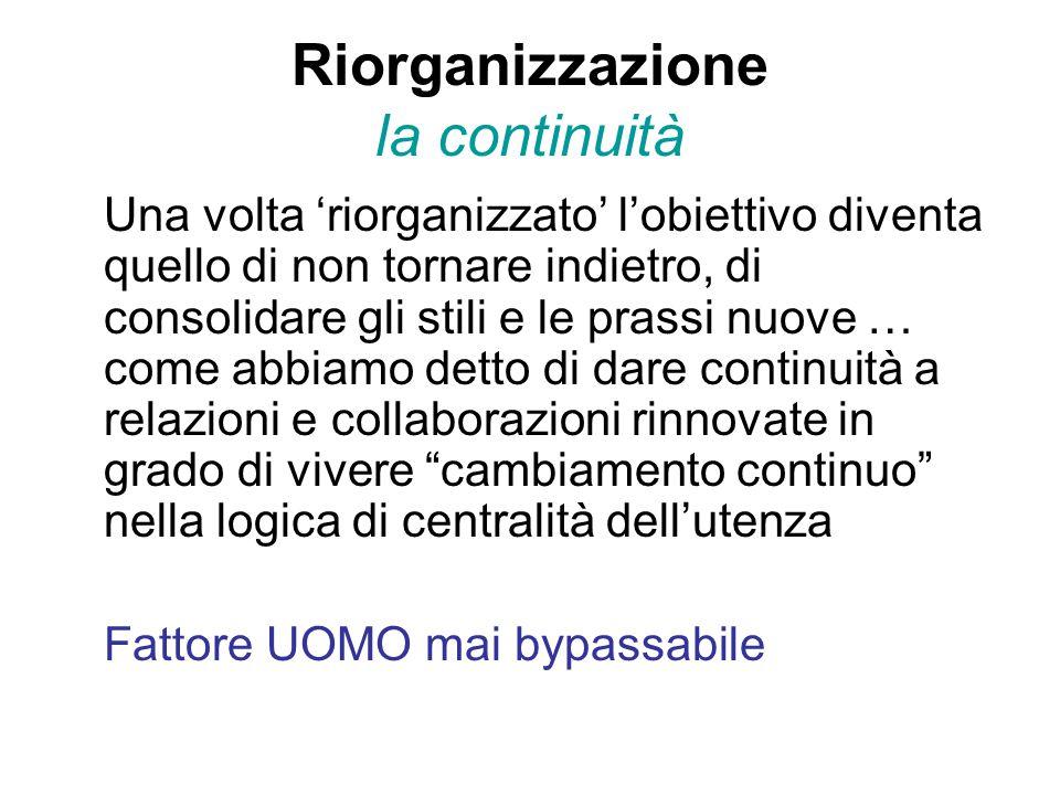 Riorganizzazione la continuità Una volta 'riorganizzato' l'obiettivo diventa quello di non tornare indietro, di consolidare gli stili e le prassi nuove … come abbiamo detto di dare continuità a relazioni e collaborazioni rinnovate in grado di vivere cambiamento continuo nella logica di centralità dell'utenza Fattore UOMO mai bypassabile