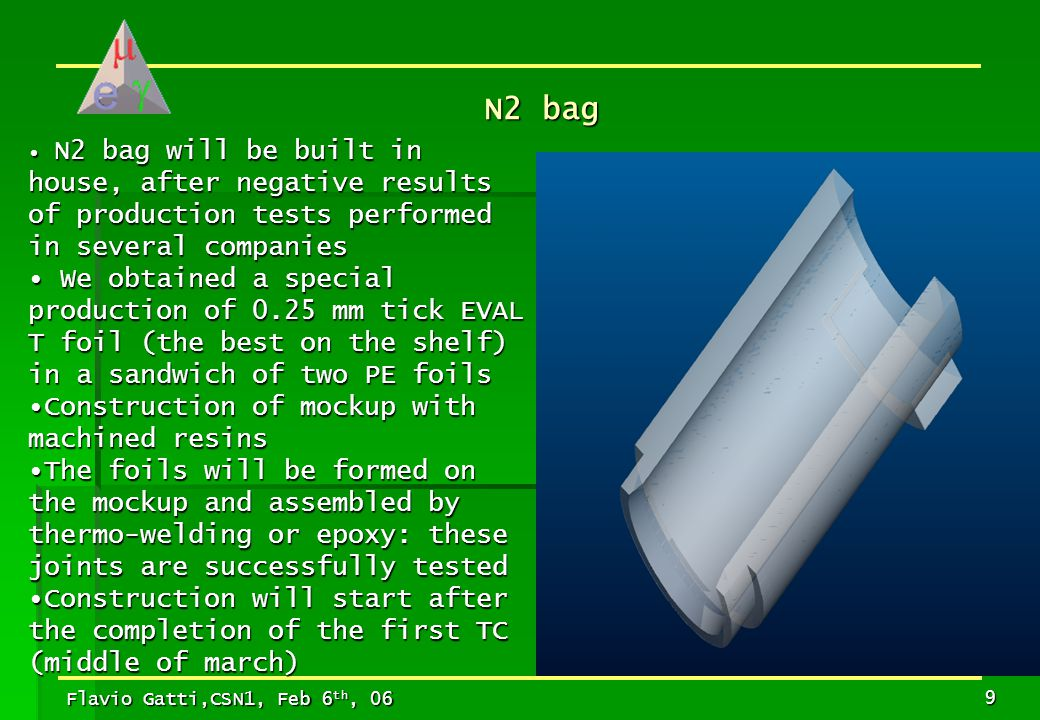 Flavio Gatti,CSN1, Feb 6 th, 06 10  Monitor of Partial pressure of He inside the N2 Bag:  Use of low cost He detectors capable to work at high inlet pressure (already ordered)  Design of the whole system is just started Blocks of resins to be used in the mockup construction