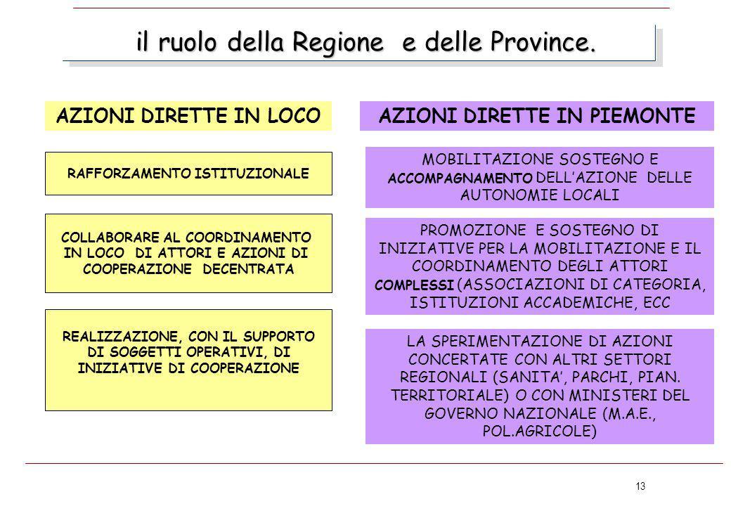 13 il ruolo della Regione e delle Province. AZIONI DIRETTE IN LOCO RAFFORZAMENTO ISTITUZIONALE LA SPERIMENTAZIONE DI AZIONI CONCERTATE CON ALTRI SETTO