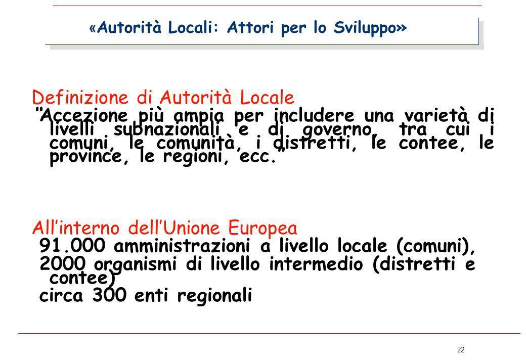 """22 « Autorità Locali: Attori per lo Sviluppo» Definizione di Autorità Locale """"Accezione più ampia per includere una varietà di livelli subnazionali e"""