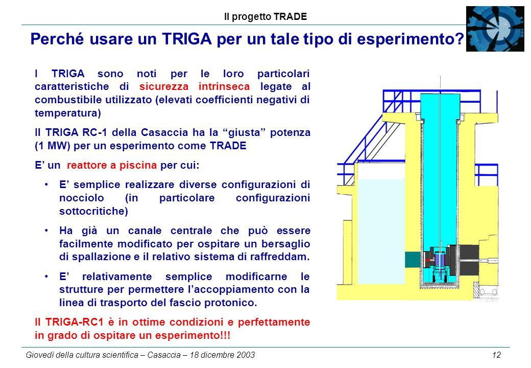 Il progetto TRADE Giovedì della cultura scientifica – Casaccia – 18 dicembre 2003 12 Perché usare un TRIGA per un tale tipo di esperimento? I TRIGA so