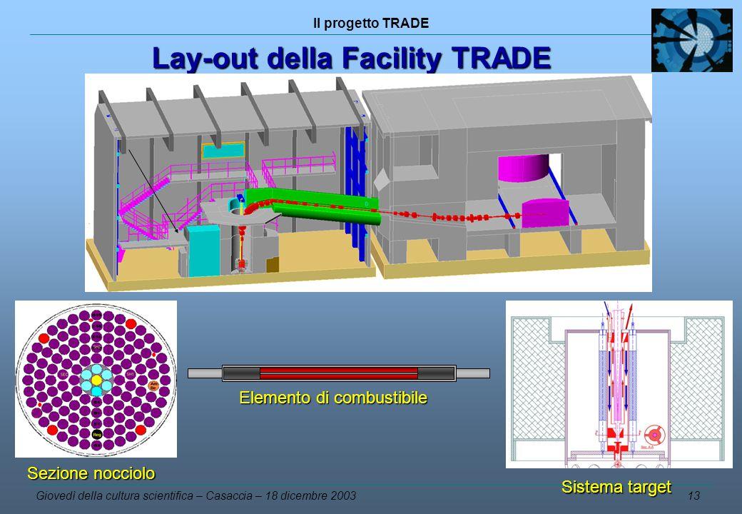 Il progetto TRADE Giovedì della cultura scientifica – Casaccia – 18 dicembre 2003 13 Lay-out della Facility TRADE Lay-out della Facility TRADE Sezione nocciolo Sistema target Elemento di combustibile