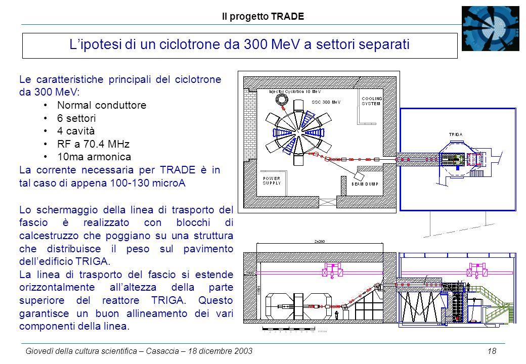 Il progetto TRADE Giovedì della cultura scientifica – Casaccia – 18 dicembre 2003 18 L'ipotesi di un ciclotrone da 300 MeV a settori separati Le carat