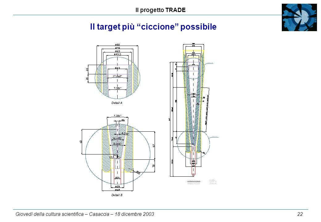Il progetto TRADE Giovedì della cultura scientifica – Casaccia – 18 dicembre 2003 22 Il target più ciccione possibile