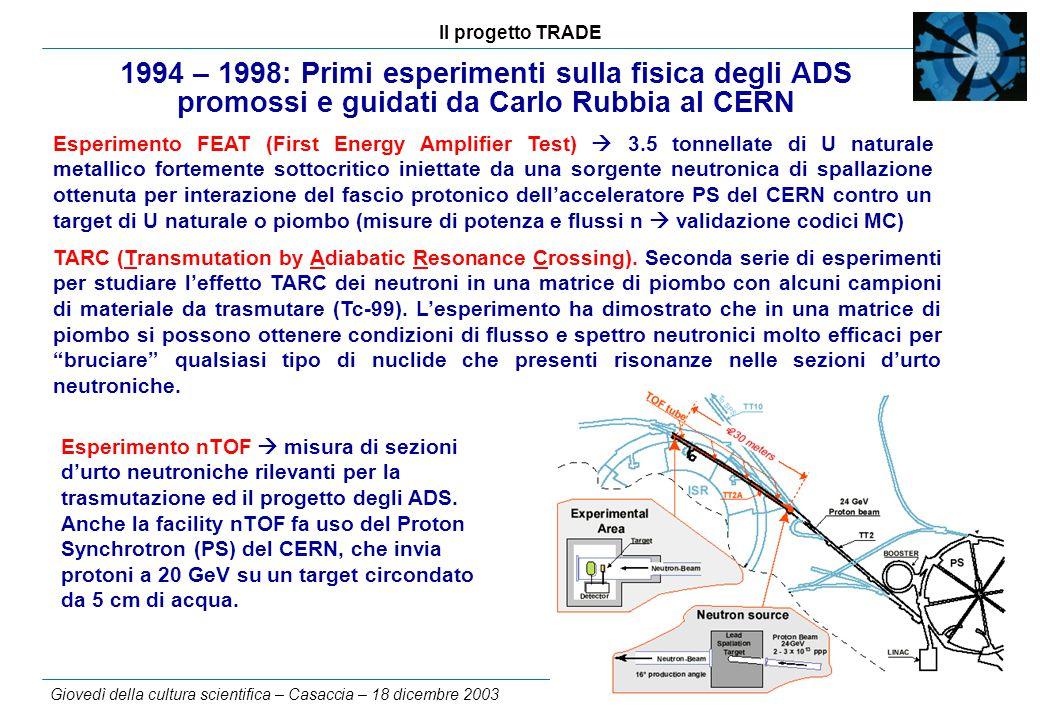 Il progetto TRADE Giovedì della cultura scientifica – Casaccia – 18 dicembre 2003 3 1994 – 1998: Primi esperimenti sulla fisica degli ADS promossi e guidati da Carlo Rubbia al CERN Esperimento FEAT (First Energy Amplifier Test)  3.5 tonnellate di U naturale metallico fortemente sottocritico iniettate da una sorgente neutronica di spallazione ottenuta per interazione del fascio protonico dell'acceleratore PS del CERN contro un target di U naturale o piombo (misure di potenza e flussi n  validazione codici MC) TARC (Transmutation by Adiabatic Resonance Crossing).