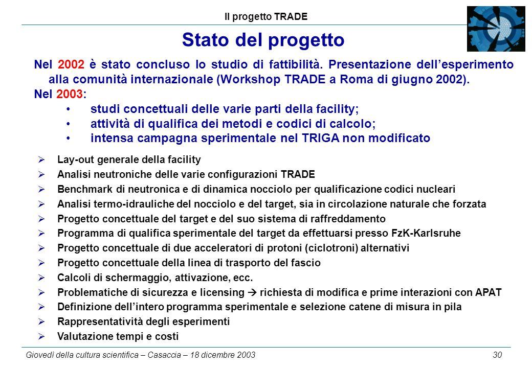 Il progetto TRADE Giovedì della cultura scientifica – Casaccia – 18 dicembre 2003 30 Stato del progetto  Lay-out generale della facility  Analisi ne
