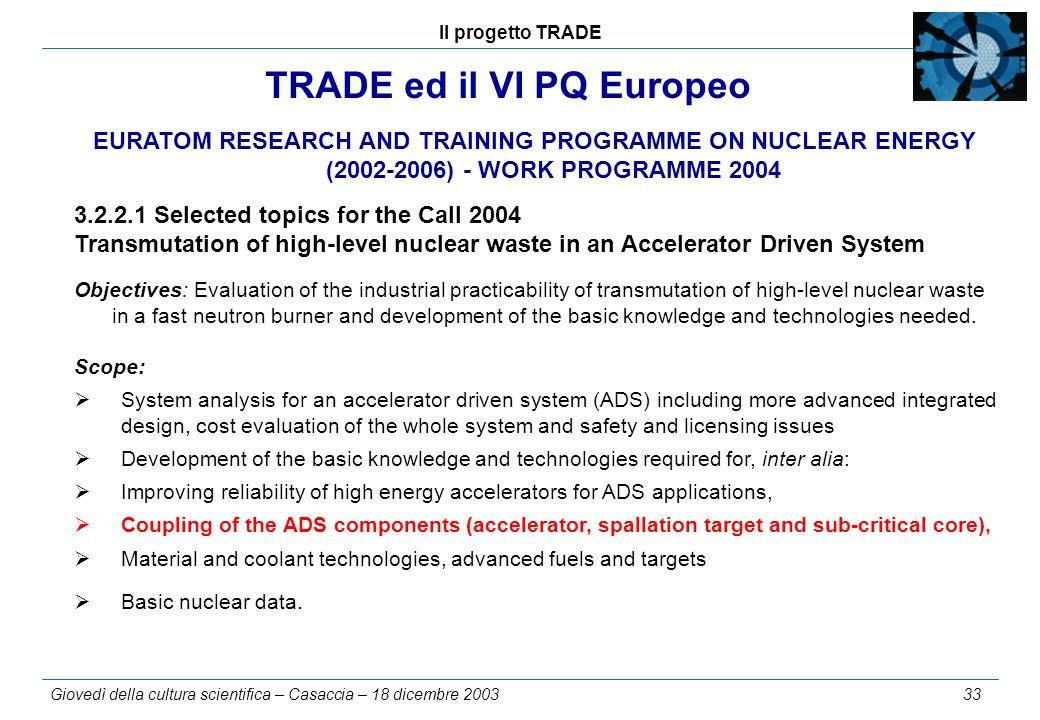 Il progetto TRADE Giovedì della cultura scientifica – Casaccia – 18 dicembre 2003 33 TRADE ed il VI PQ Europeo EURATOM RESEARCH AND TRAINING PROGRAMME