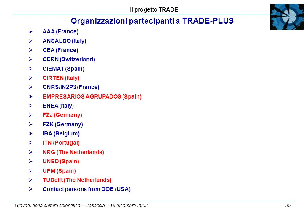 Il progetto TRADE Giovedì della cultura scientifica – Casaccia – 18 dicembre 2003 35 Organizzazioni partecipanti a TRADE-PLUS  AAA (France)  ANSALDO (Italy)  CEA (France)  CERN (Switzerland)  CIEMAT (Spain)  CIRTEN (Italy)  CNRS/IN2P3 (France)  EMPRESARIOS AGRUPADOS (Spain)  ENEA (Italy)  FZJ (Germany)  FZK (Germany)  IBA (Belgium)  ITN (Portugal)  NRG (The Netherlands)  UNED (Spain)  UPM (Spain)  TUDelft (The Netherlands)  Contact persons from DOE (USA)
