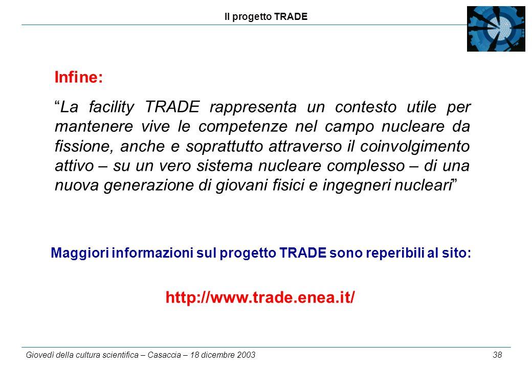 Il progetto TRADE Giovedì della cultura scientifica – Casaccia – 18 dicembre 2003 38 Maggiori informazioni sul progetto TRADE sono reperibili al sito: