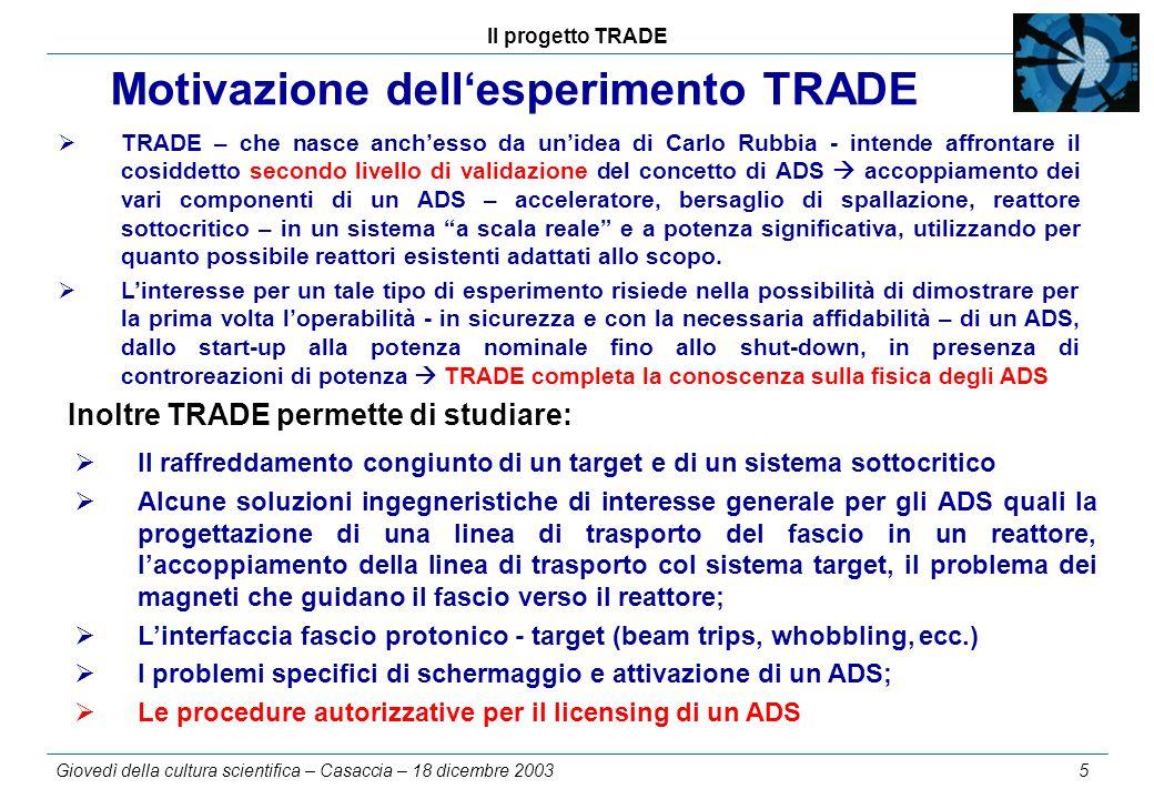 Il progetto TRADE Giovedì della cultura scientifica – Casaccia – 18 dicembre 2003 5 Motivazione dell'esperimento TRADE  TRADE – che nasce anch'esso d