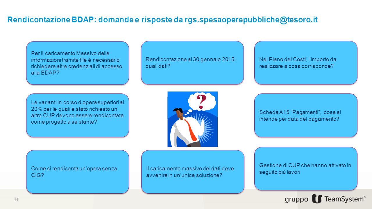 11 Rendicontazione BDAP: domande e risposte da rgs.spesaoperepubbliche@tesoro.it Per il caricamento Massivo delle informazioni tramite file è necessar
