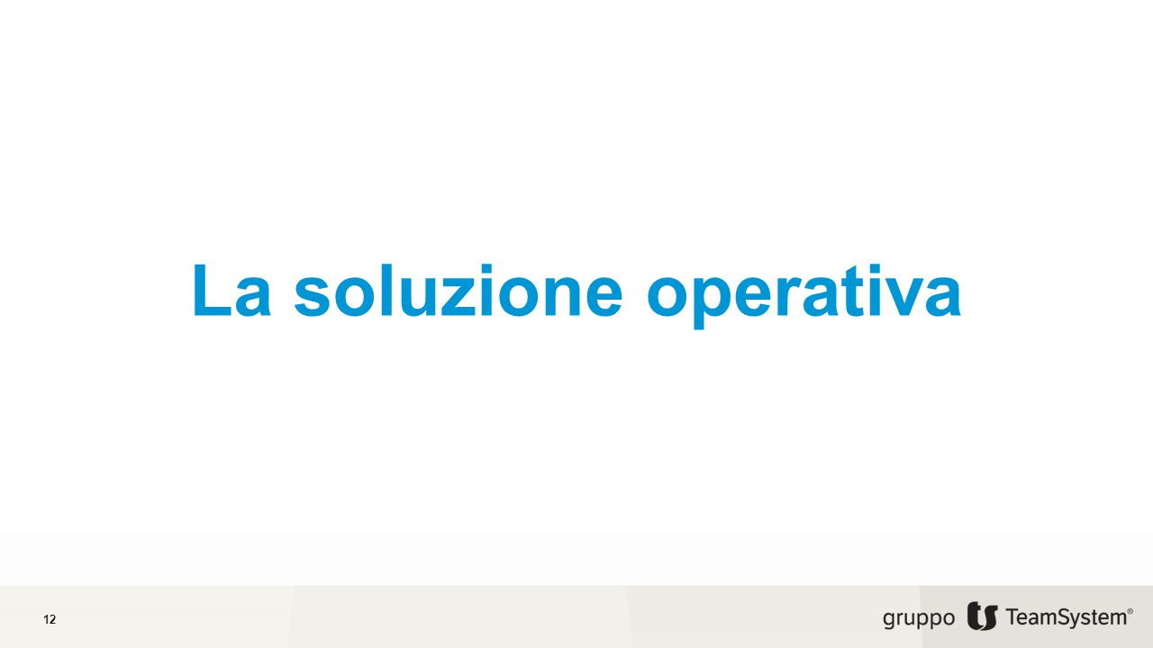 La soluzione operativa 12