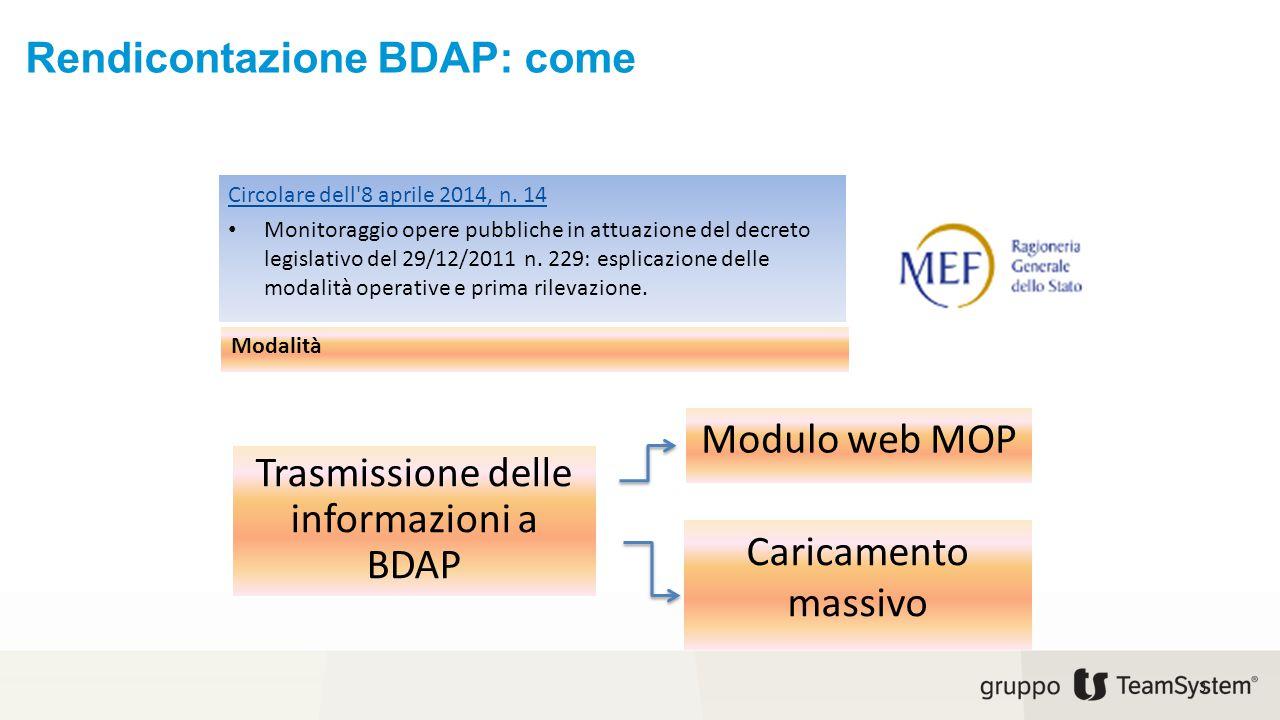 Rendicontazione BDAP: come 3 Circolare dell'8 aprile 2014, n. 14 Monitoraggio opere pubbliche in attuazione del decreto legislativo del 29/12/2011 n.