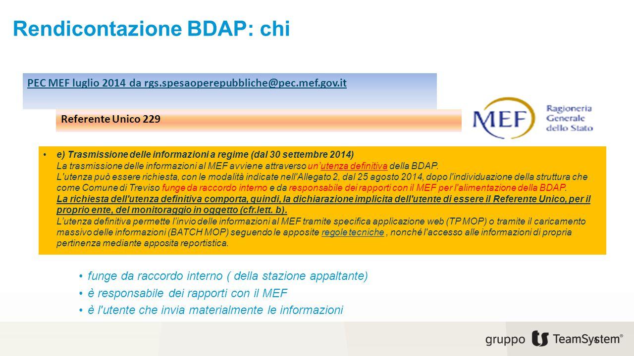 Rendicontazione BDAP: chi e) Trasmissione delle informazioni a regime (dal 30 settembre 2014) La trasmissione delle informazioni al MEF avviene attrav