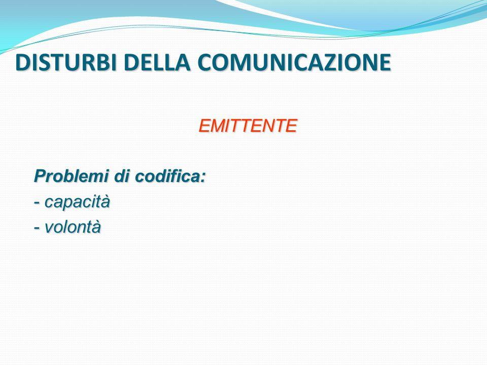 DISTURBI DELLA COMUNICAZIONE EMITTENTE Problemi di codifica: - capacità - volontà