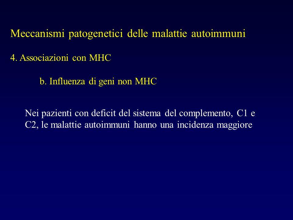 Meccanismi patogenetici delle malattie autoimmuni 4. Associazioni con MHC b. Influenza di geni non MHC Nei pazienti con deficit del sistema del comple