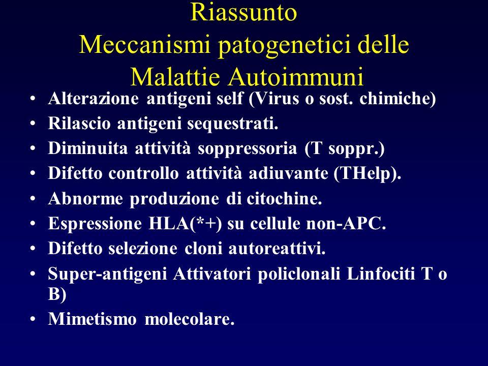 Riassunto Meccanismi patogenetici delle Malattie Autoimmuni Alterazione antigeni self (Virus o sost. chimiche) Rilascio antigeni sequestrati. Diminuit
