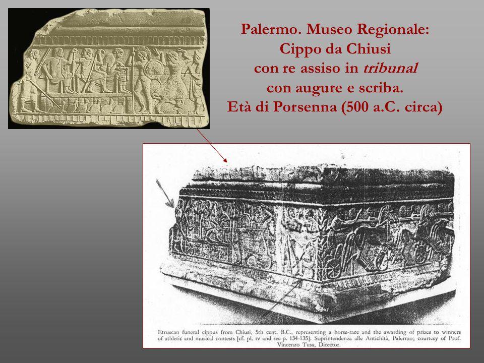 Palermo. Museo Regionale: Cippo da Chiusi con re assiso in tribunal con augure e scriba. Età di Porsenna (500 a.C. circa)