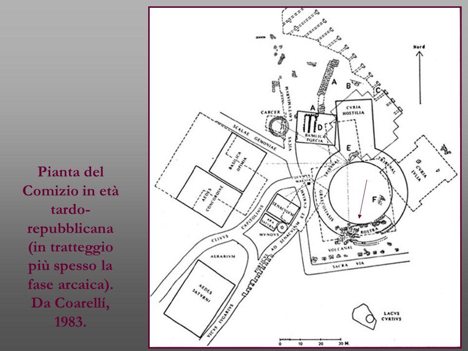 Pianta del Comizio in età tardo- repubblicana (in tratteggio più spesso la fase arcaica). Da Coarellí, 1983.