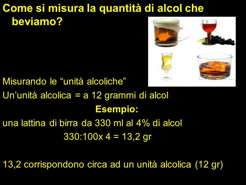 Come si misura la quantità di alcol che beviamo.