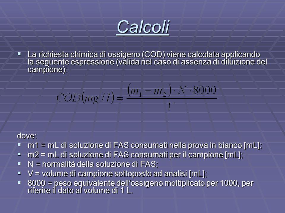 Calcoli  La richiesta chimica di ossigeno (COD) viene calcolata applicando la seguente espressione (valida nel caso di assenza di diluizione del camp