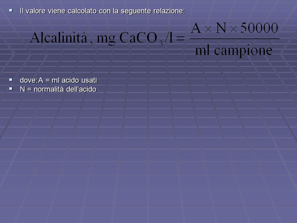  Il valore viene calcolato con la seguente relazione:  dove:A = ml acido usati  N = normalità dell'acido