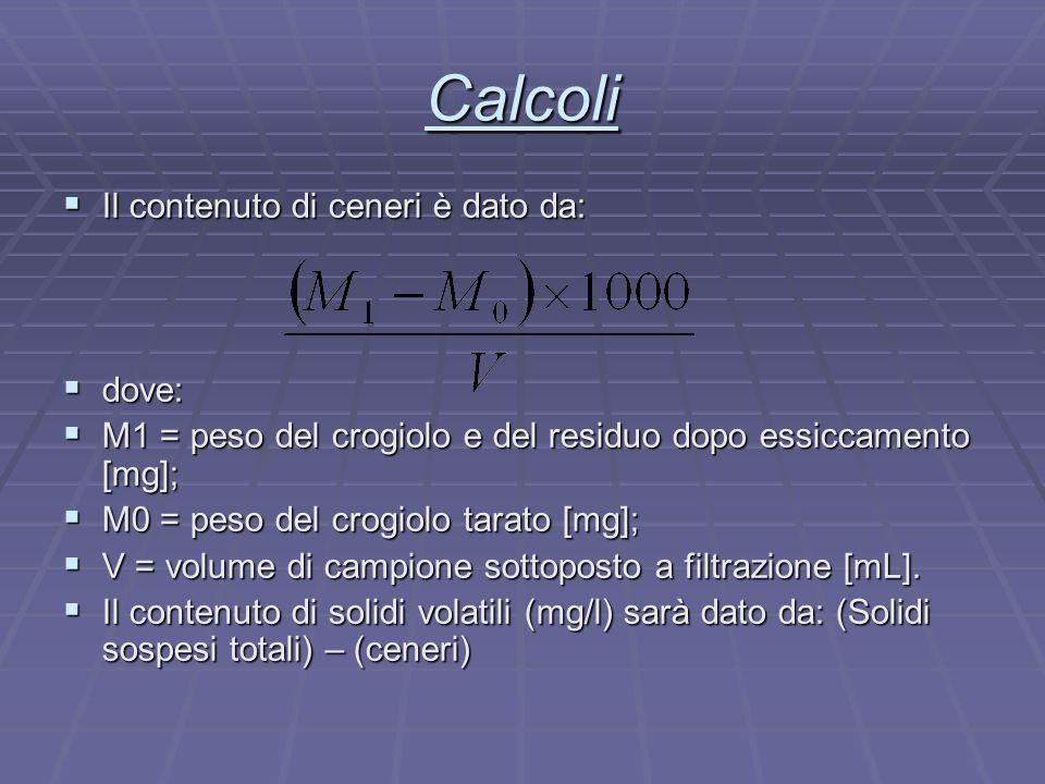 Calcoli  Il contenuto di ceneri è dato da:  dove:  M1 = peso del crogiolo e del residuo dopo essiccamento [mg];  M0 = peso del crogiolo tarato [mg