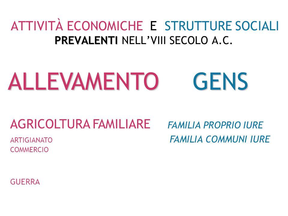 PREVALENTI ATTIVITÀ ECONOMICHE E STRUTTURE SOCIALI PREVALENTI NEL VII-V SECOLO A.C.