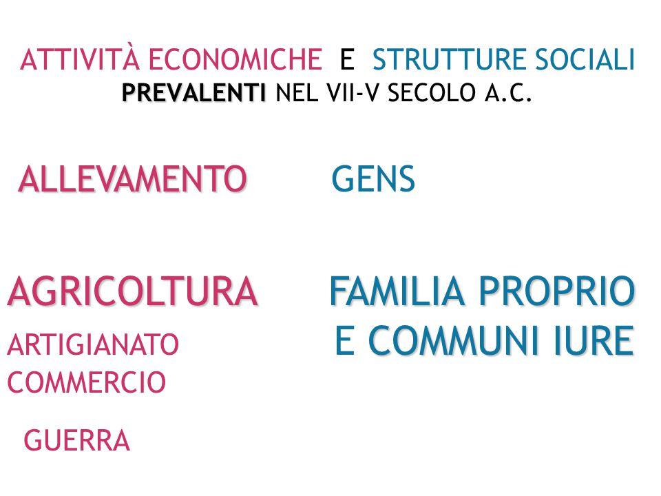 PREVALENTI ATTIVITÀ ECONOMICHE E STRUTTURE SOCIALI PREVALENTI NEL IV SECOLO A.C.