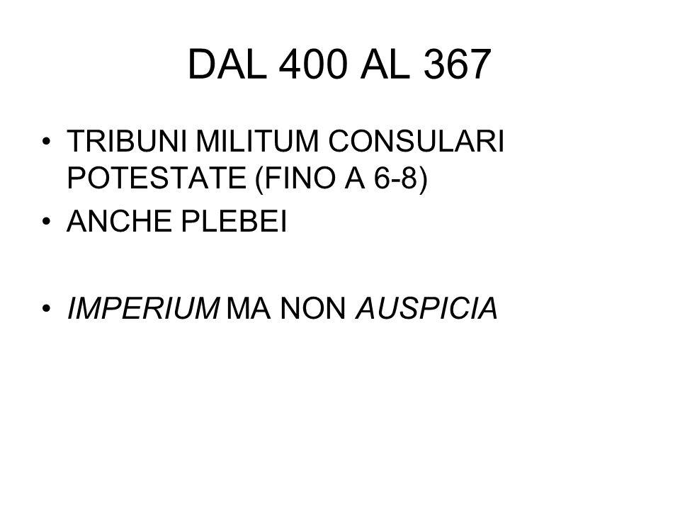 LEGES VALERIAE HORATIAE (449 A.C.) SACROSANCTITAS DEI TRIBUNI PLEBIS E LORO AUXILII LATIO ADVERSUS CONSULES PARIFICAZIONE DEI PLEBISCITA ALLE LEGGI (ANTICIPAZIONE) DIVIETO DI CREARE MAGISTRATURE SENZA PROVOCATIO XII TAB.