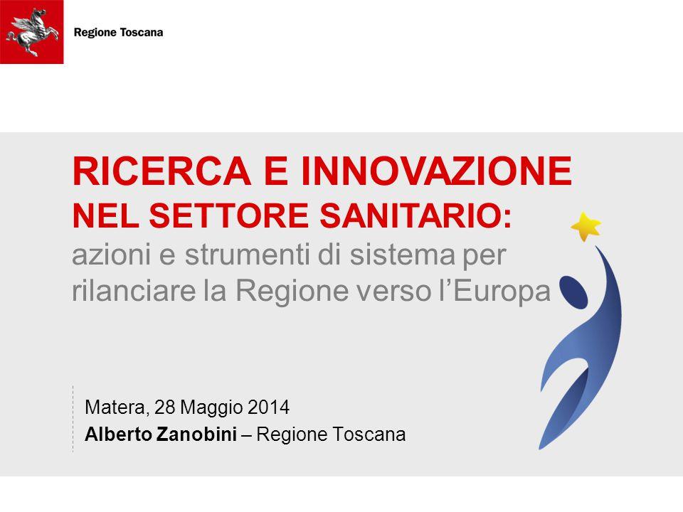 RICERCA E INNOVAZIONE NEL SETTORE SANITARIO: azioni e strumenti di sistema per rilanciare la Regione verso l'Europa Matera, 28 Maggio 2014 Alberto Zanobini – Regione Toscana