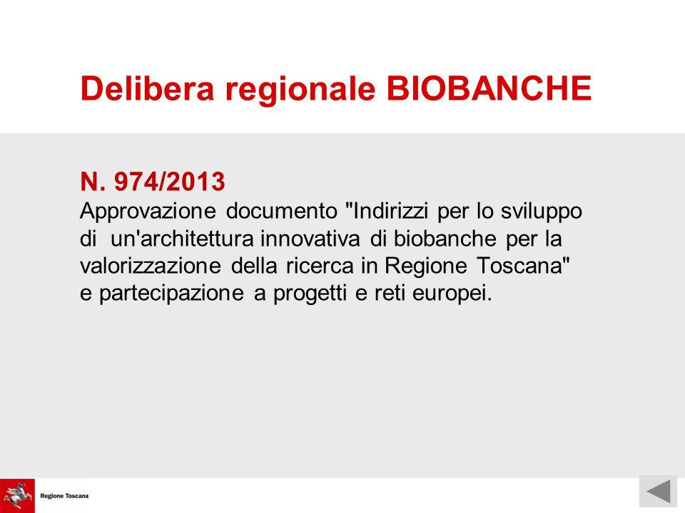 Delibera regionale BIOBANCHE N.