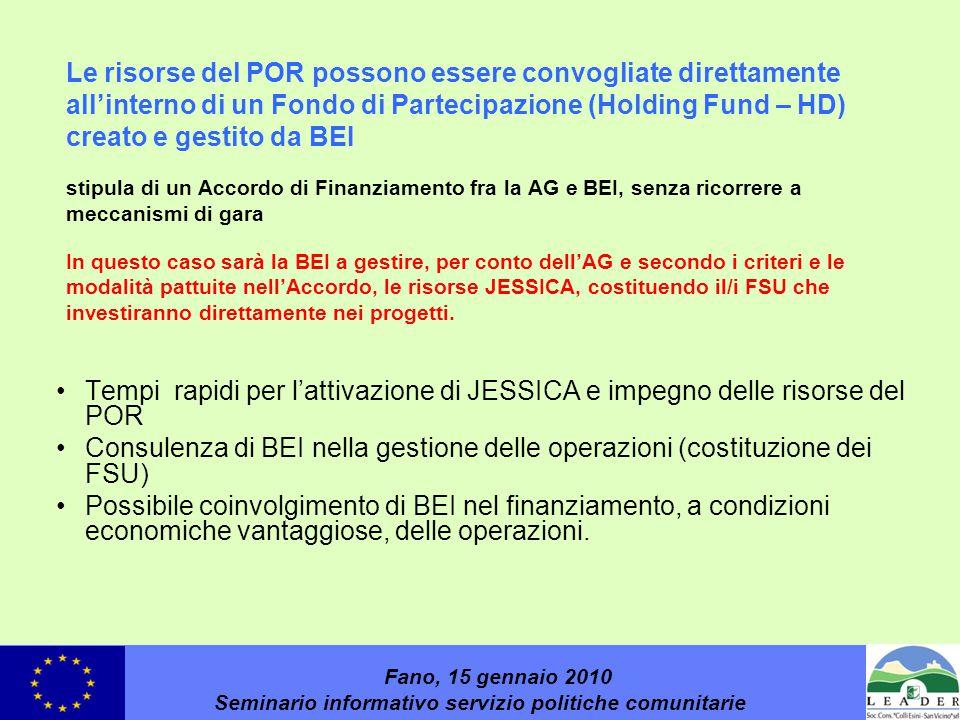 Le risorse del POR possono essere convogliate direttamente all'interno di un Fondo di Partecipazione (Holding Fund – HD) creato e gestito da BEI stipula di un Accordo di Finanziamento fra la AG e BEI, senza ricorrere a meccanismi di gara In questo caso sarà la BEI a gestire, per conto dell'AG e secondo i criteri e le modalità pattuite nell'Accordo, le risorse JESSICA, costituendo il/i FSU che investiranno direttamente nei progetti.