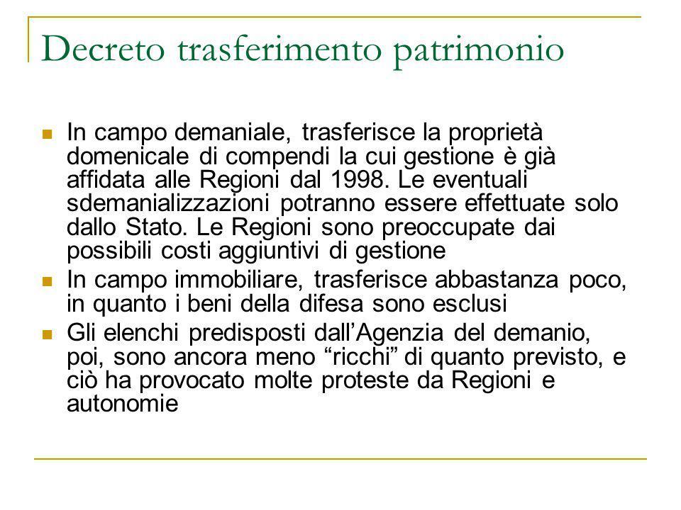 Decreto trasferimento patrimonio In campo demaniale, trasferisce la proprietà domenicale di compendi la cui gestione è già affidata alle Regioni dal 1998.