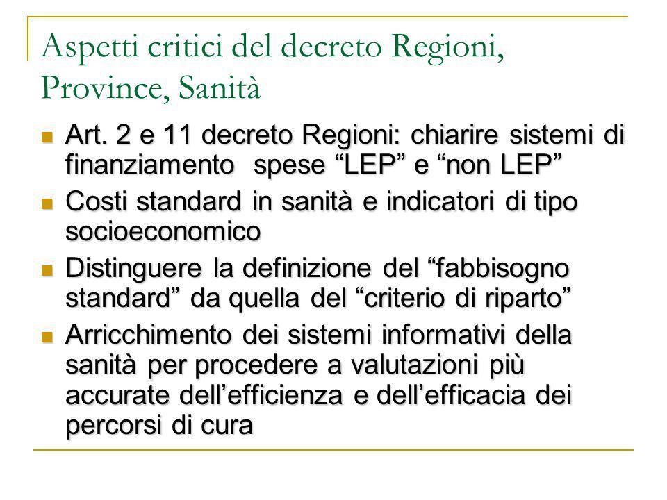 Aspetti critici del decreto Regioni, Province, Sanità Art.