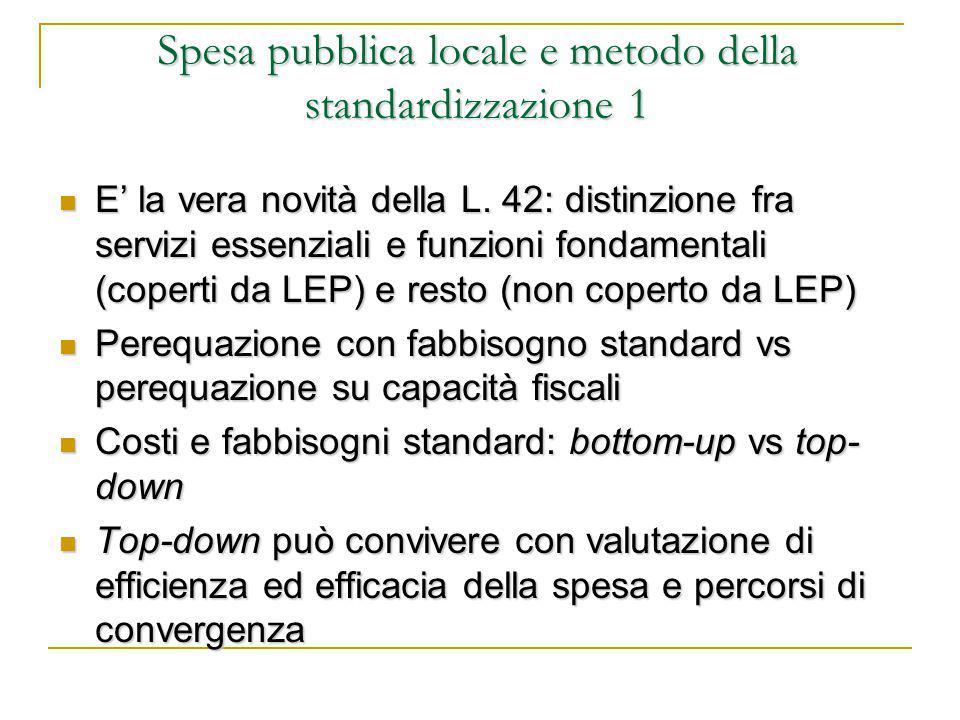Spesa pubblica locale e metodo della standardizzazione 1 E' la vera novità della L.