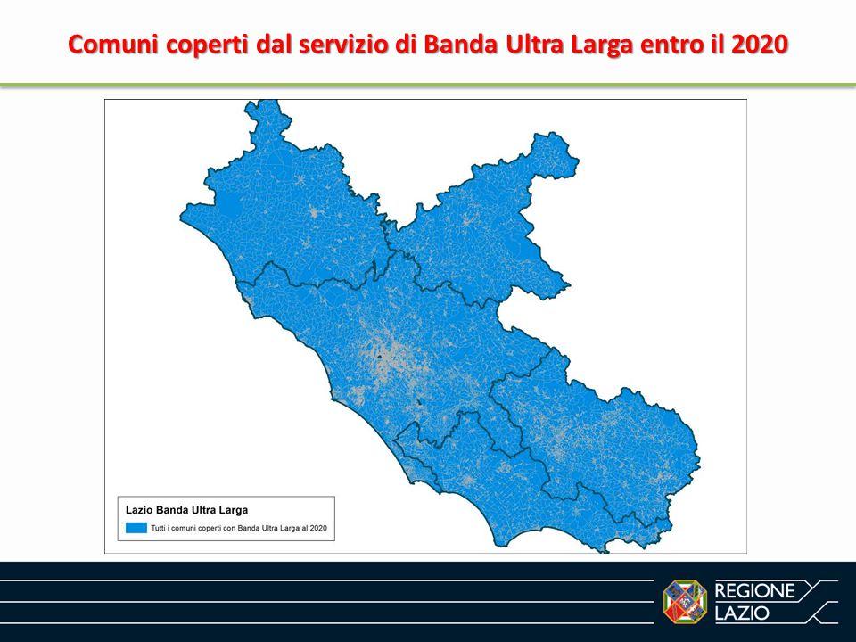 Territorio coperto dal servizio di Banda Ultra Larga entro il 2020 Territorio coperto dal servizio di Banda Ultra Larga entro il 2020
