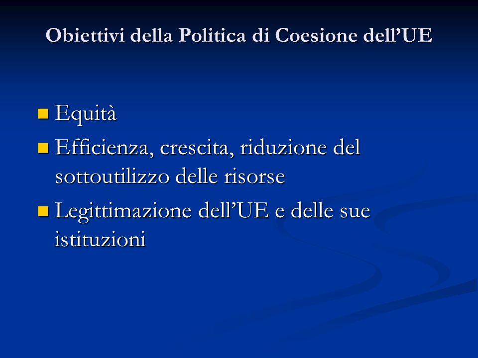 Obiettivi della Politica di Coesione dell'UE Equità Equità Efficienza, crescita, riduzione del sottoutilizzo delle risorse Efficienza, crescita, riduzione del sottoutilizzo delle risorse Legittimazione dell'UE e delle sue istituzioni Legittimazione dell'UE e delle sue istituzioni