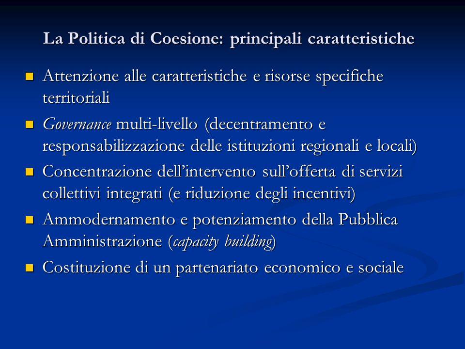 La Politica di Coesione: principali caratteristiche Attenzione alle caratteristiche e risorse specifiche territoriali Attenzione alle caratteristiche