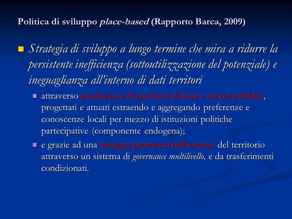 Politica di sviluppo place-based (Rapporto Barca, 2009) Strategia di sviluppo a lungo termine che mira a ridurre la persistente inefficienza (sottouti